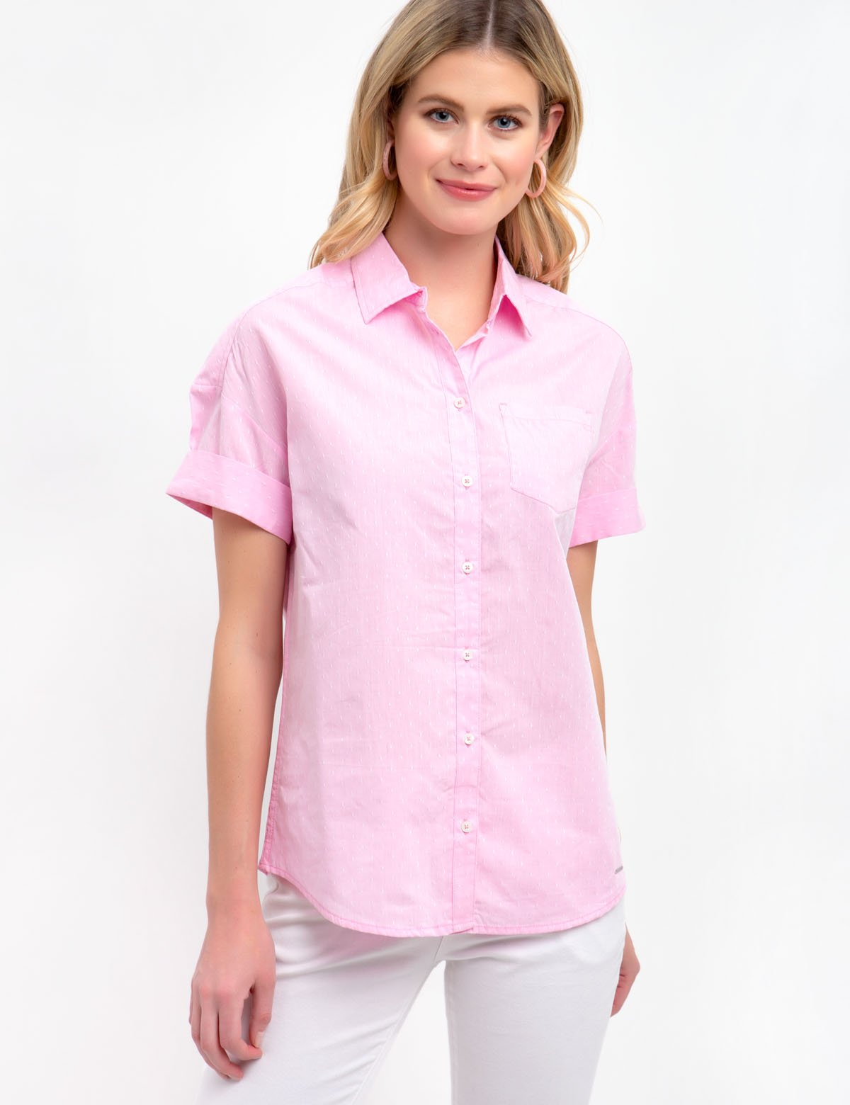 DOT BUTTON FRONT SHIRT