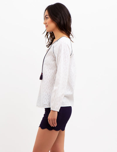 PRINTED PEASANT TOP - U.S. Polo Assn.