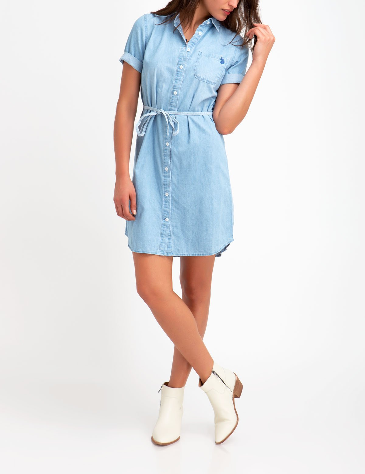 CHAMBRAY SHIRT DRESS - U.S. Polo Assn.
