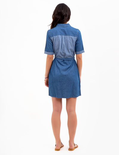 SHORT SLEEVE DENIM DRESS