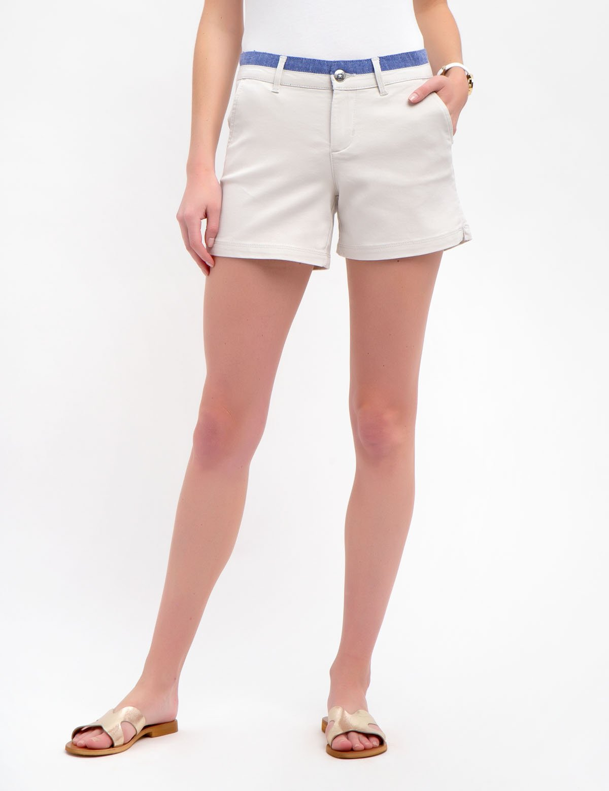 CHAMBRAY TRIM SHORTS