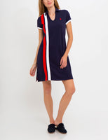 Above the Knee Embroidered Striped Print Collared Dress