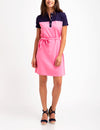 BELTED COLORBLOCK POLO DRESS