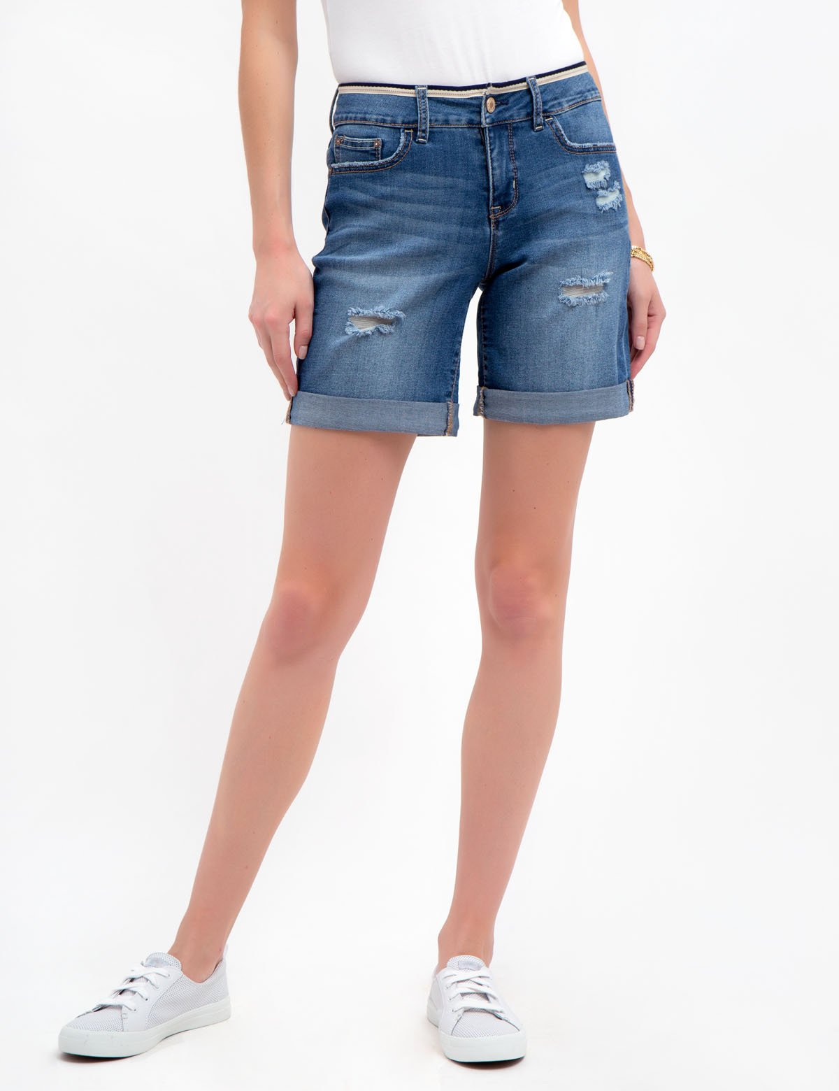 DENIM SHORTS WITH DETAILED WAIST