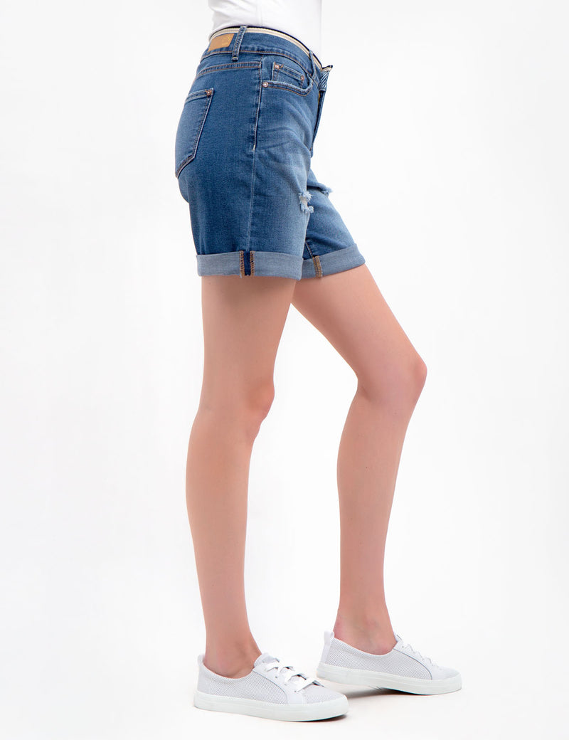 Jean Shorts with Waist Detail