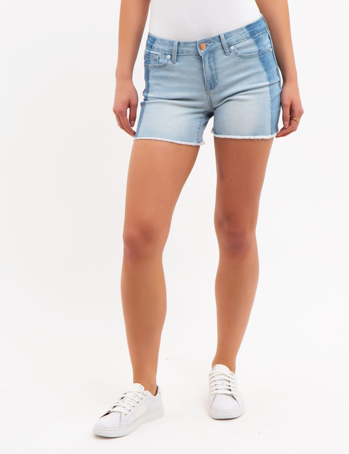 COLORBLOCK JEAN SHORTS