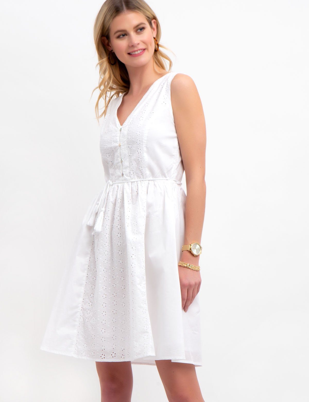 EYELET POPLIN DRESS - U.S. Polo Assn.