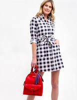 Long Sleeves Checkered Gingham Print Drawstring Embroidered Pocketed Button Front Tie Waist Waistline Dress
