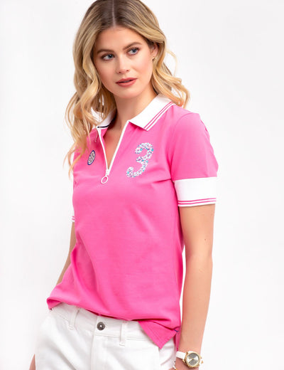FLORAL ZIP POLO SHIRT - U.S. Polo Assn.