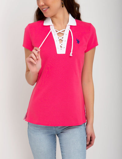 CONTRAST LACE UP POLO SHIRT - U.S. Polo Assn.