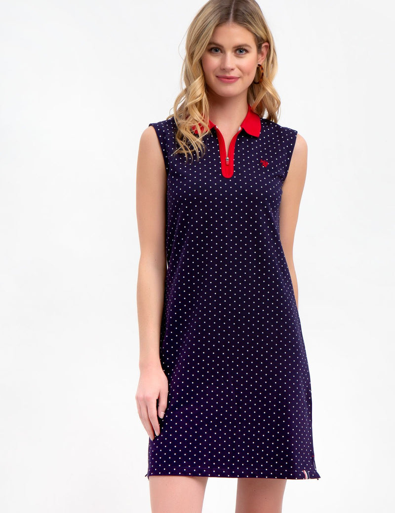 SLEEVELESS DOT DRESS