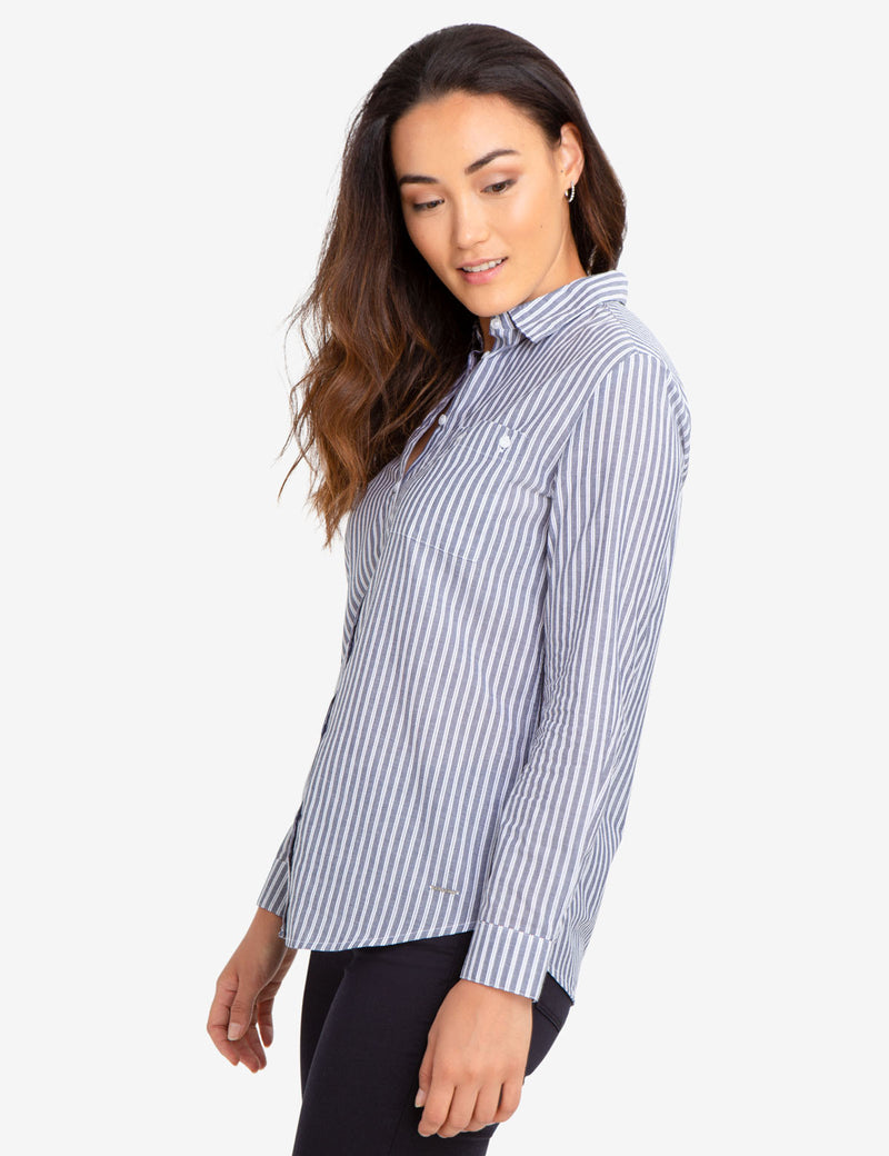 BUTTON POCKET STRIPED SHIRT