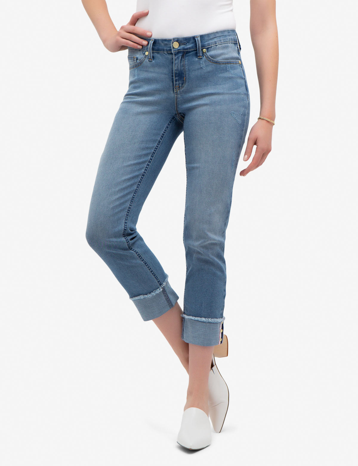 REPREVE® MID RISE RELAXED WIDE CUFF JEANS WITH CUFF DETAIL