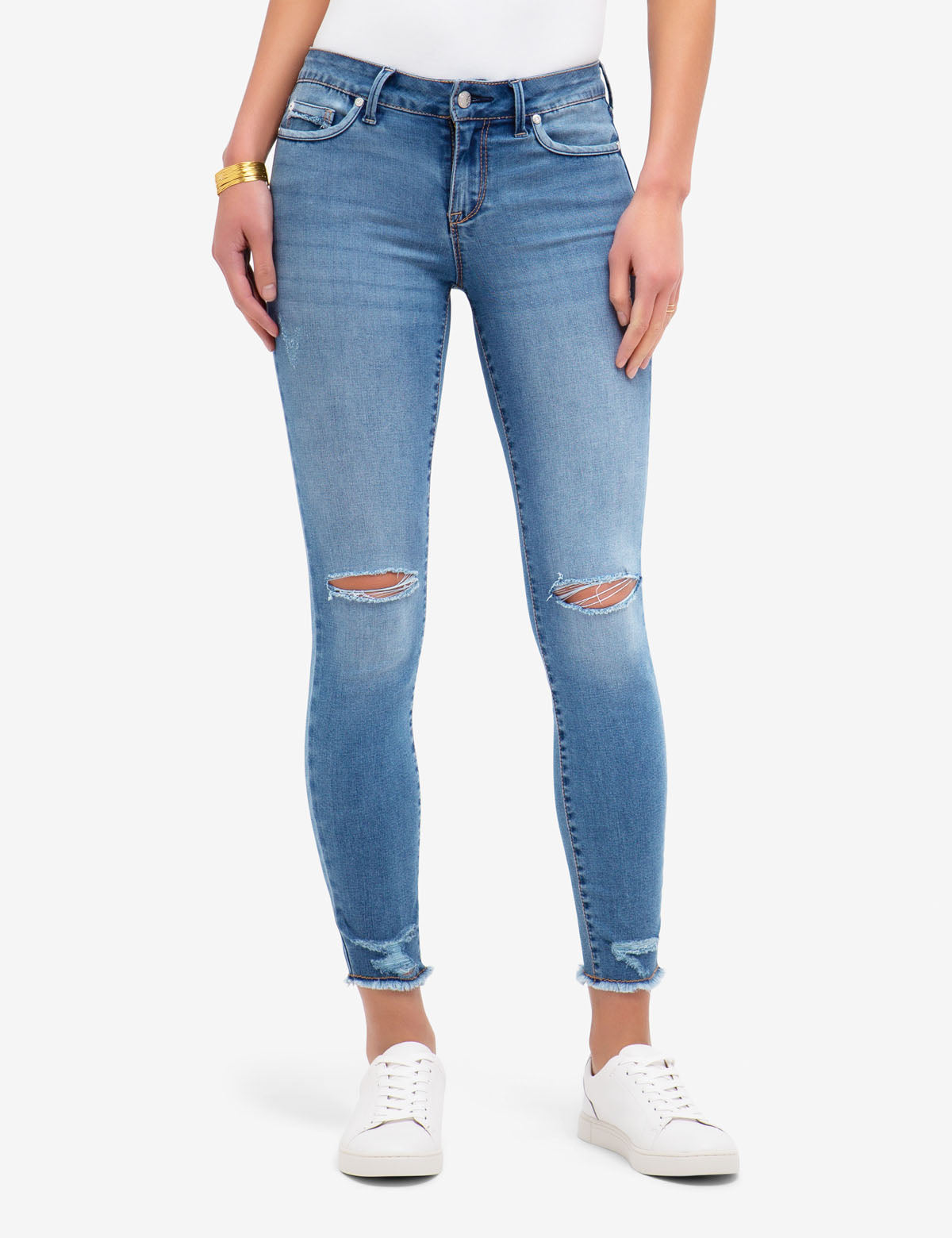 REPREVE® MID RISE FRAYED SKINNY JEANS
