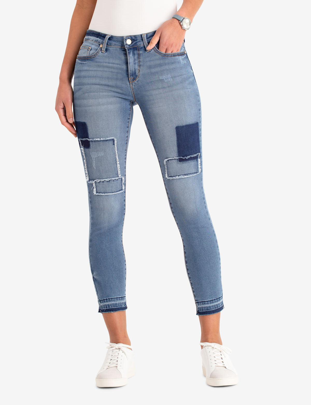 MID RISE SHORT SUPER SKINNY PATCHED JEANS