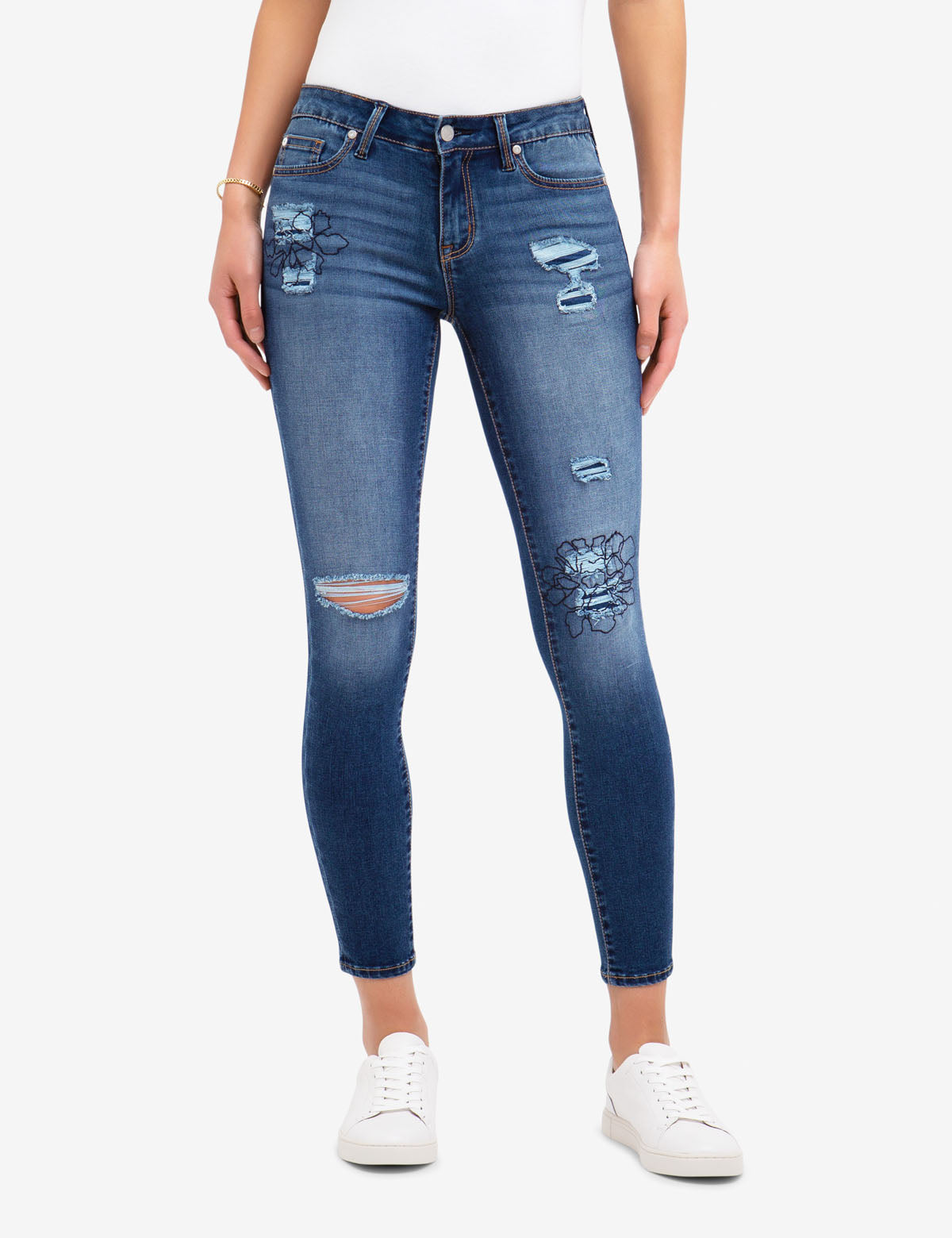 REPREVE® MID RISE EMBROIDERED DESTRUCTIVE JEGGING