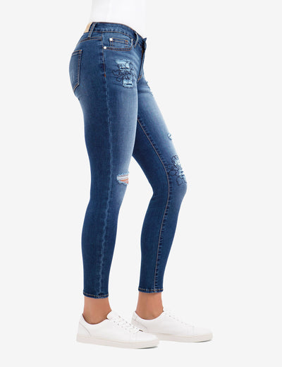 REPREVE® MID RISE EMBROIDERED DESTRUCTIVE JEGGING - U.S. Polo Assn.
