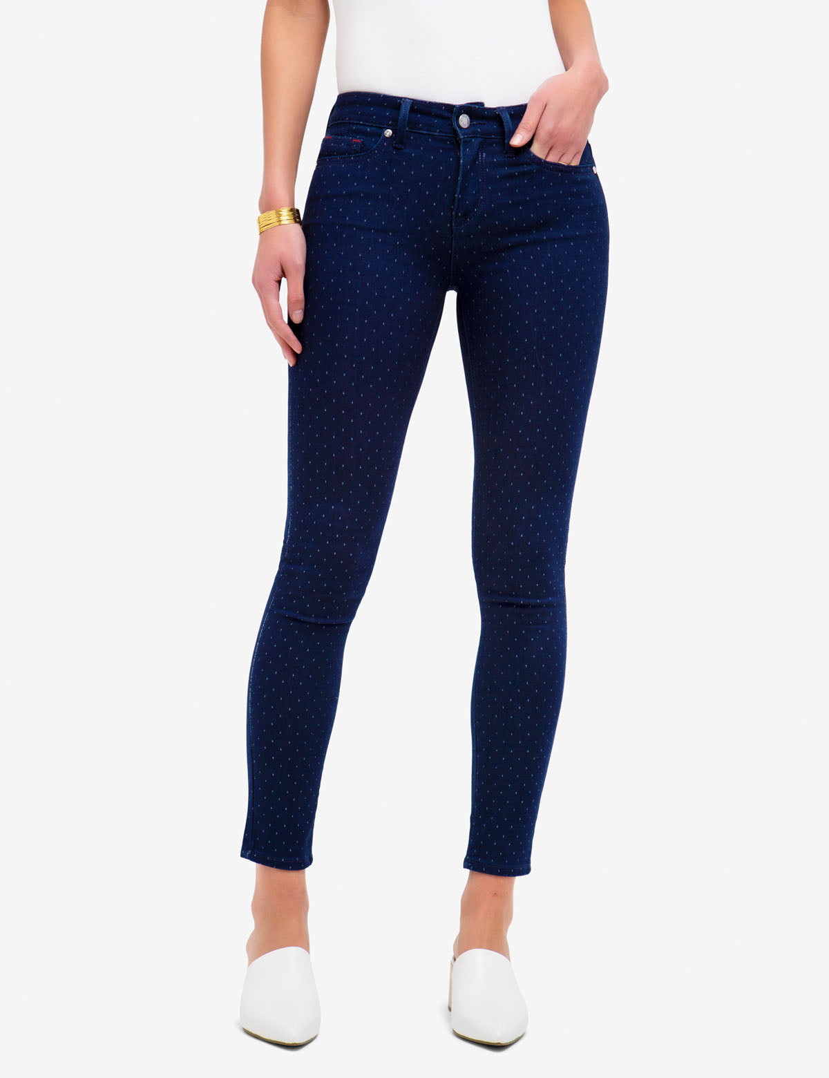 MID RISE SUPER SKINNY DOT JEANS