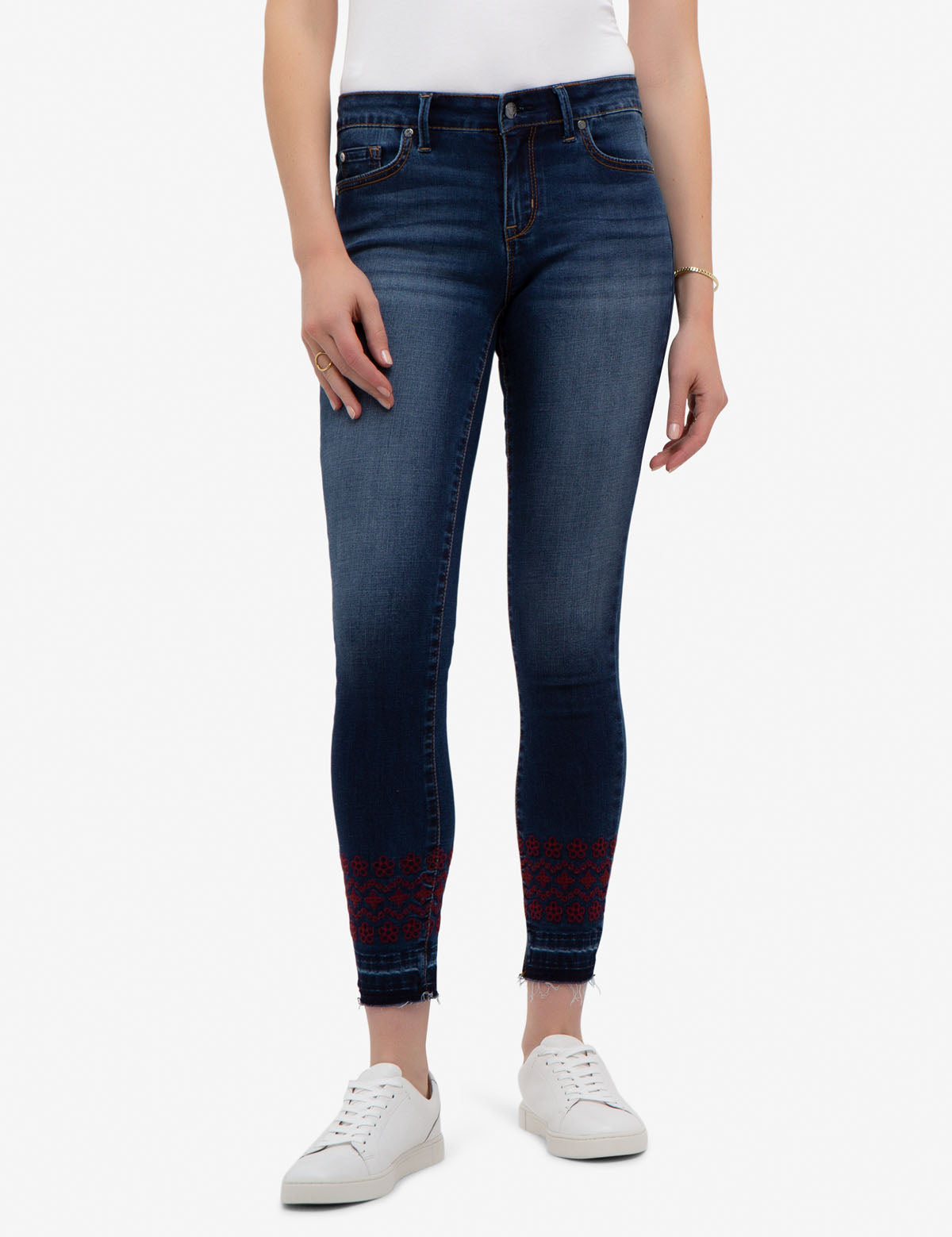 REPREVE® MID RISE SKINNY EMBROIDERED JEANS
