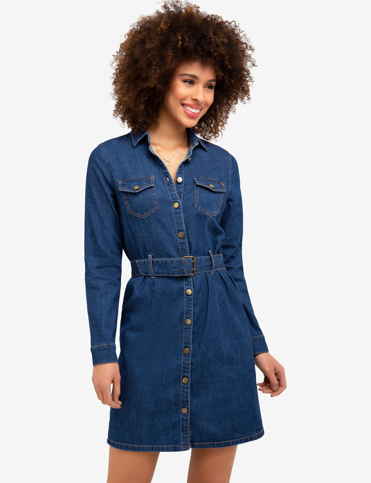 STRETCH DENIM BELTED SHIRT DRESS