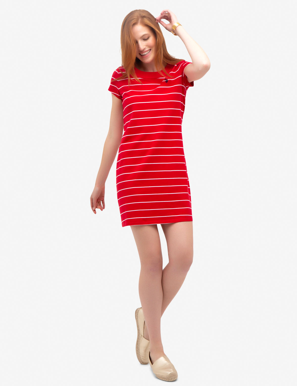 STRIPED BUTTON SHOULDER DRESS