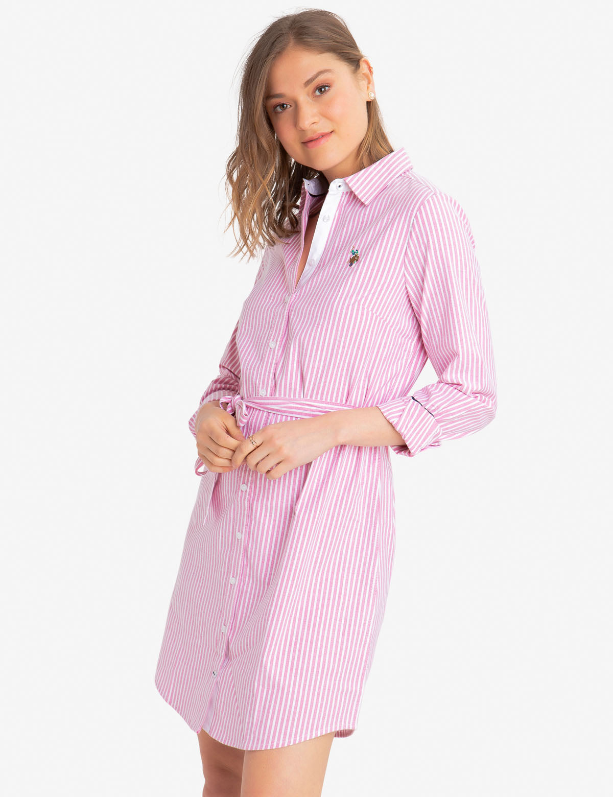 STRIPED MULTI-COLORED LOGO OXFORD DRESS