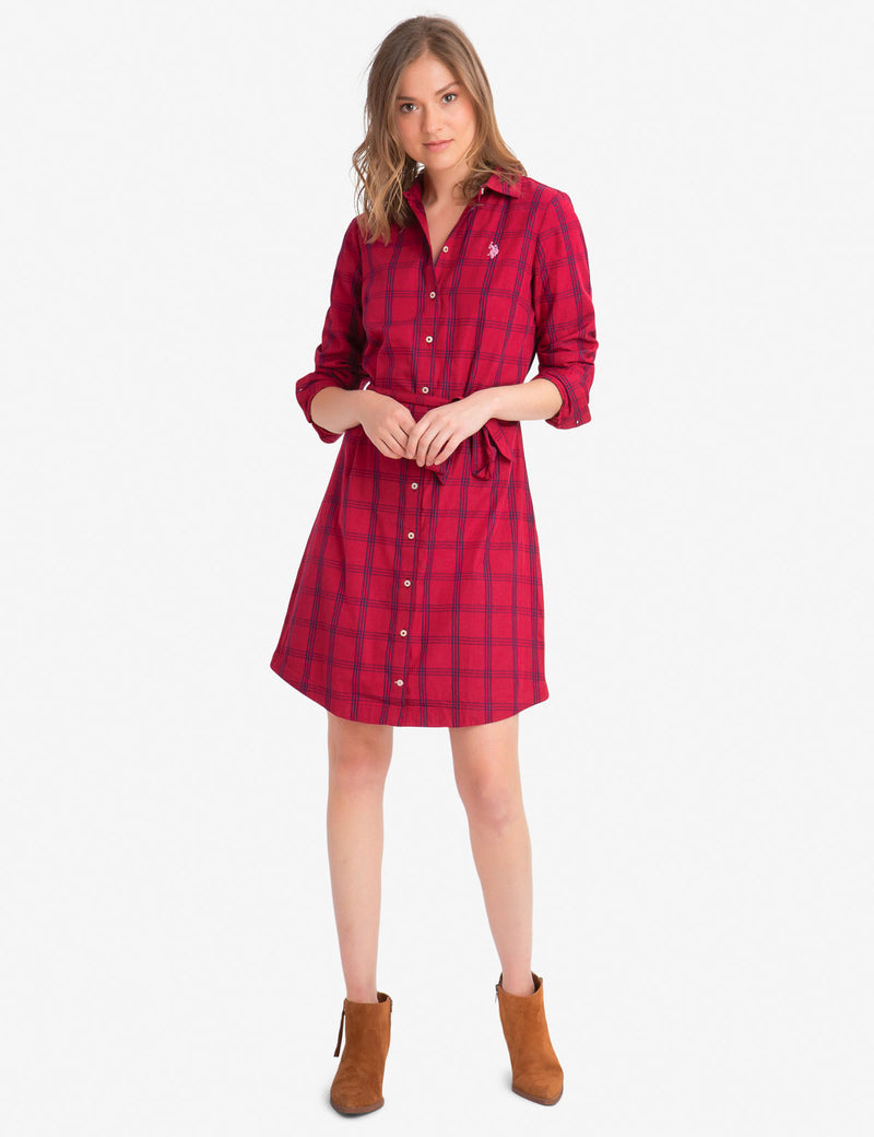 PLAID POPLIN DRESS