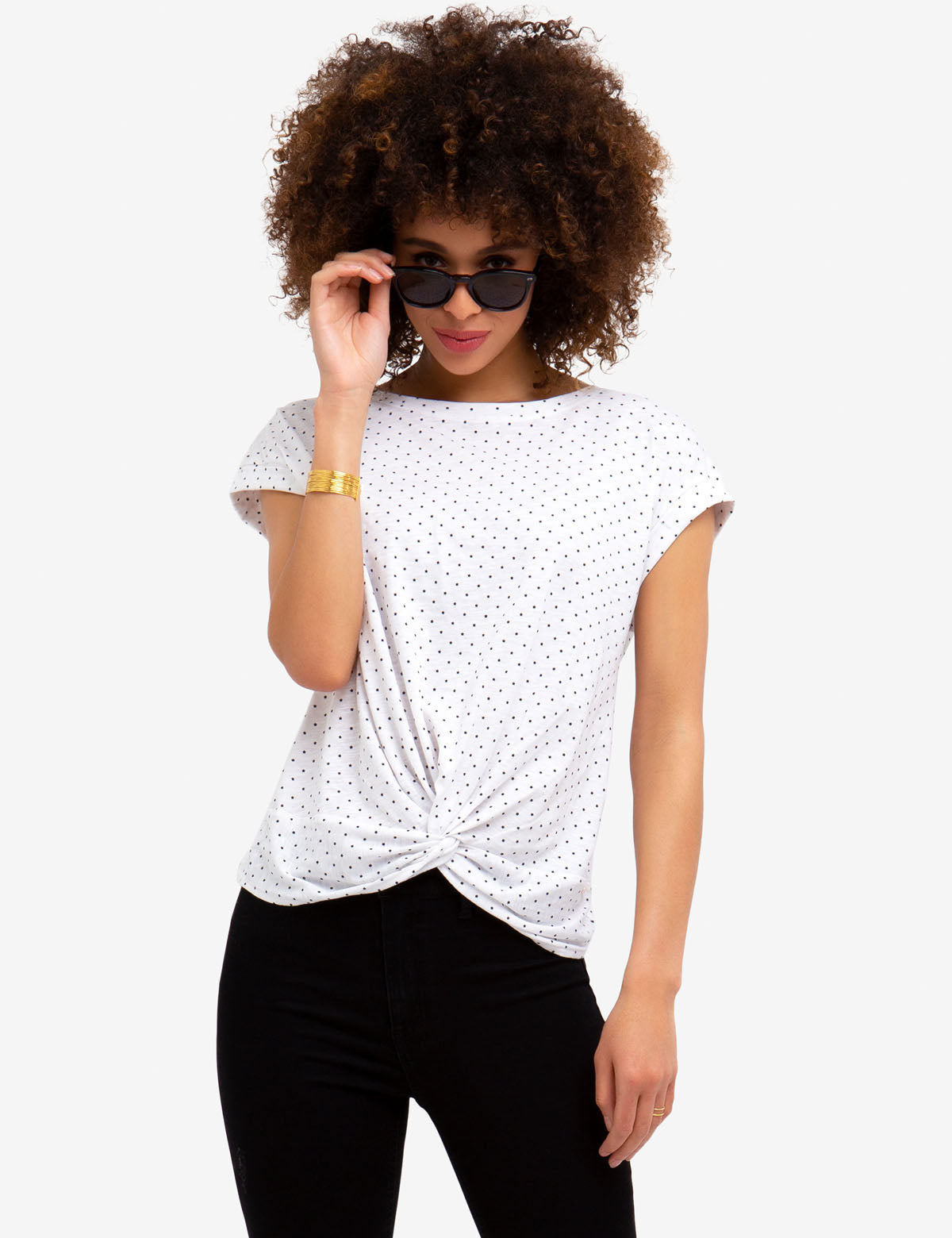 FRONT TWIST DOTTED TEE-SHIRT