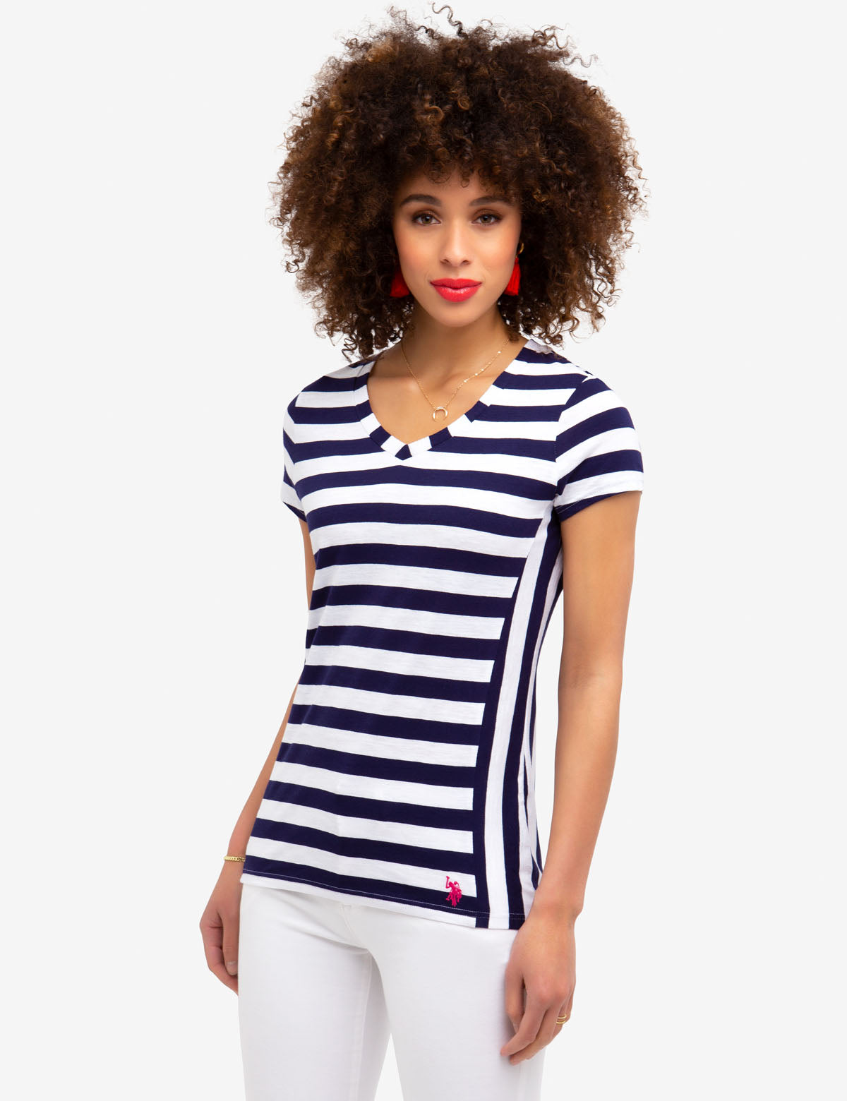 STRIPED V-NECK TEE-SHIRT