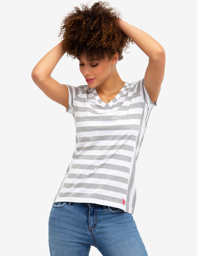 STRIPED V-NECK TEE-SHIRT - U.S. Polo Assn.