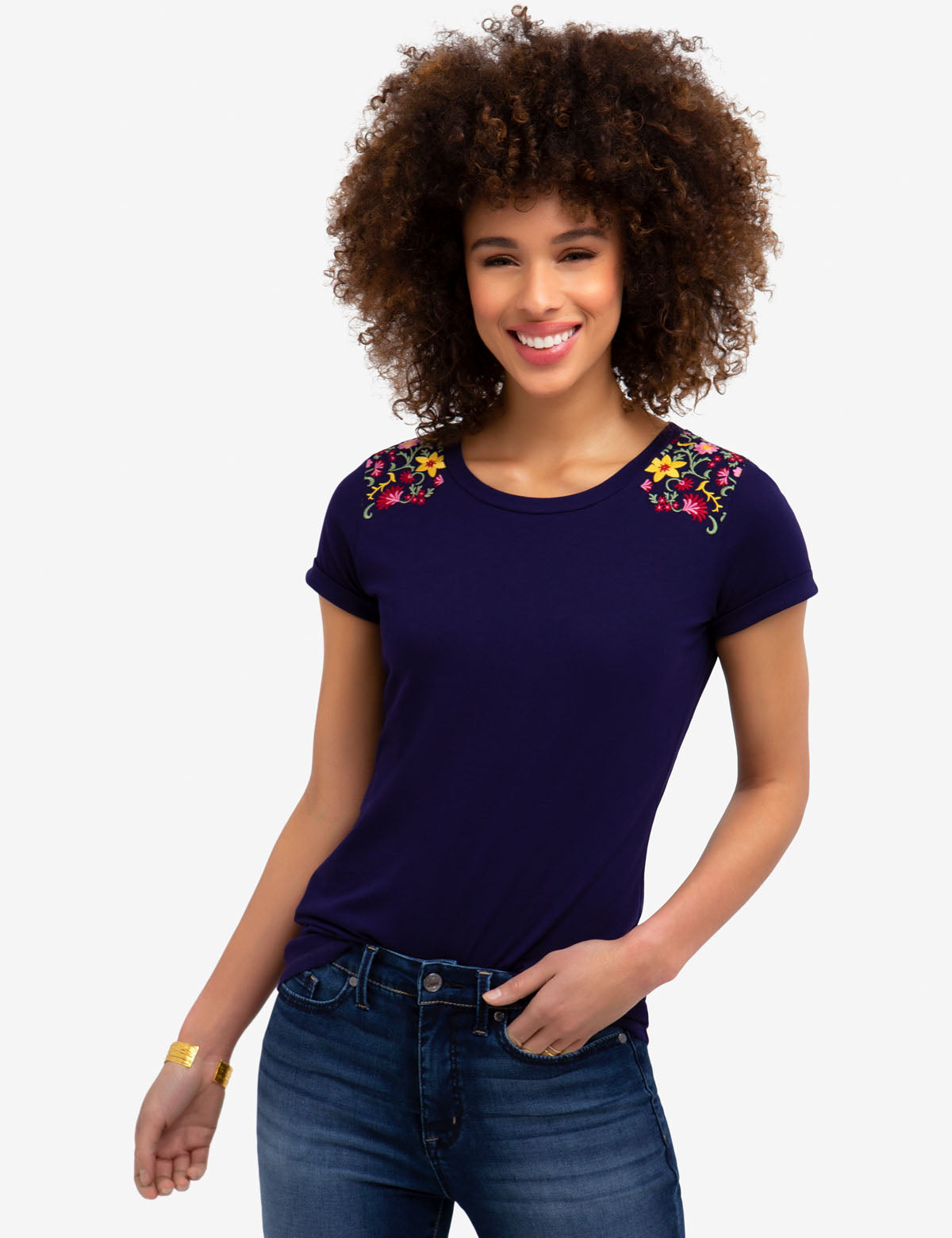 FLORAL EMBROIDERED T-SHIRT - U.S. Polo Assn.