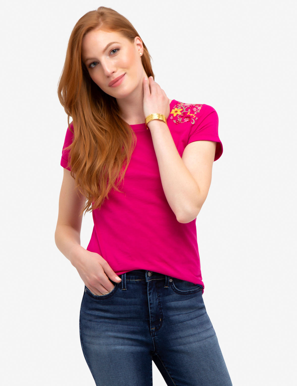 FLORAL EMBROIDERED tee-shirt