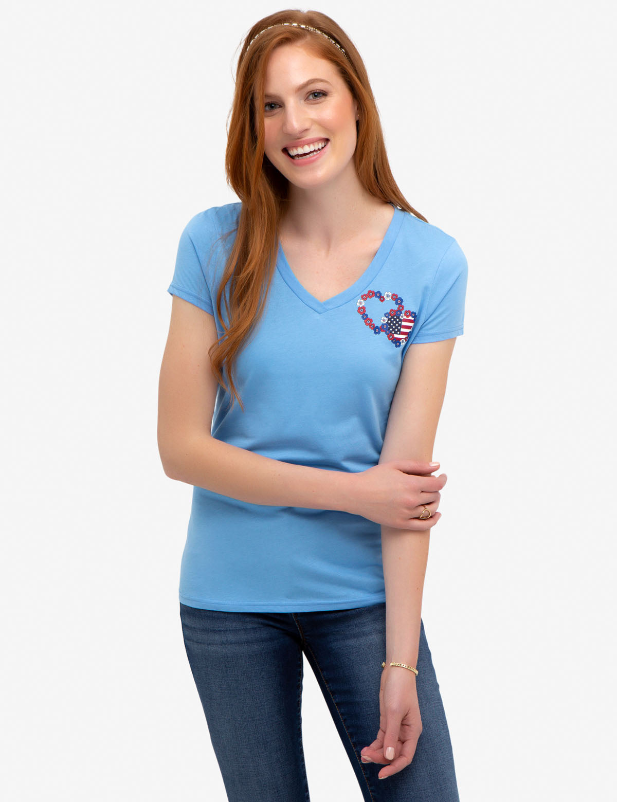FLORAL & FLAG HEARTS GRAPHIC TEE-SHIRT