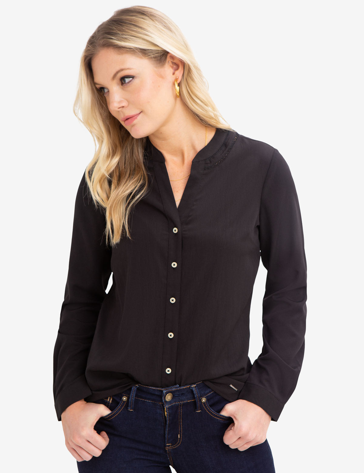 TRIM CREPE SHIRT