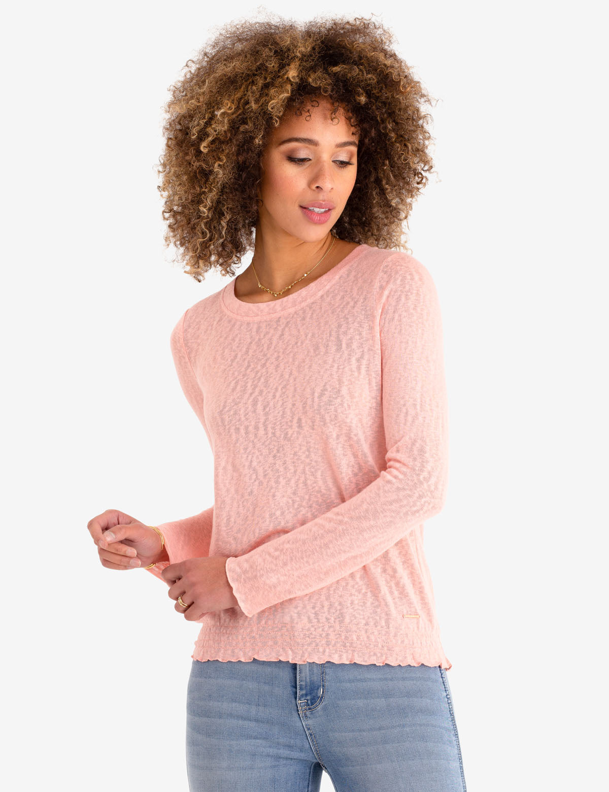 SMOCKED BOTTOM LONG SLEEVE TOP - U.S. Polo Assn.
