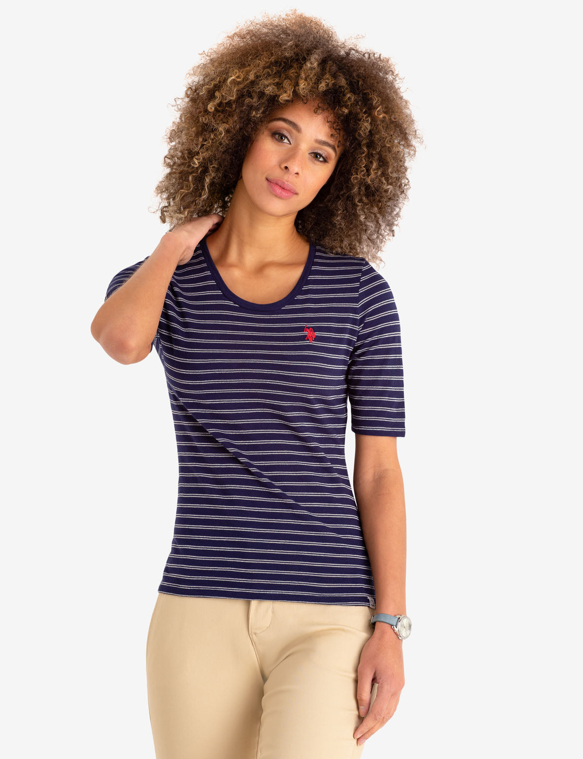 METALLIC STRIPED TEE-SHIRT