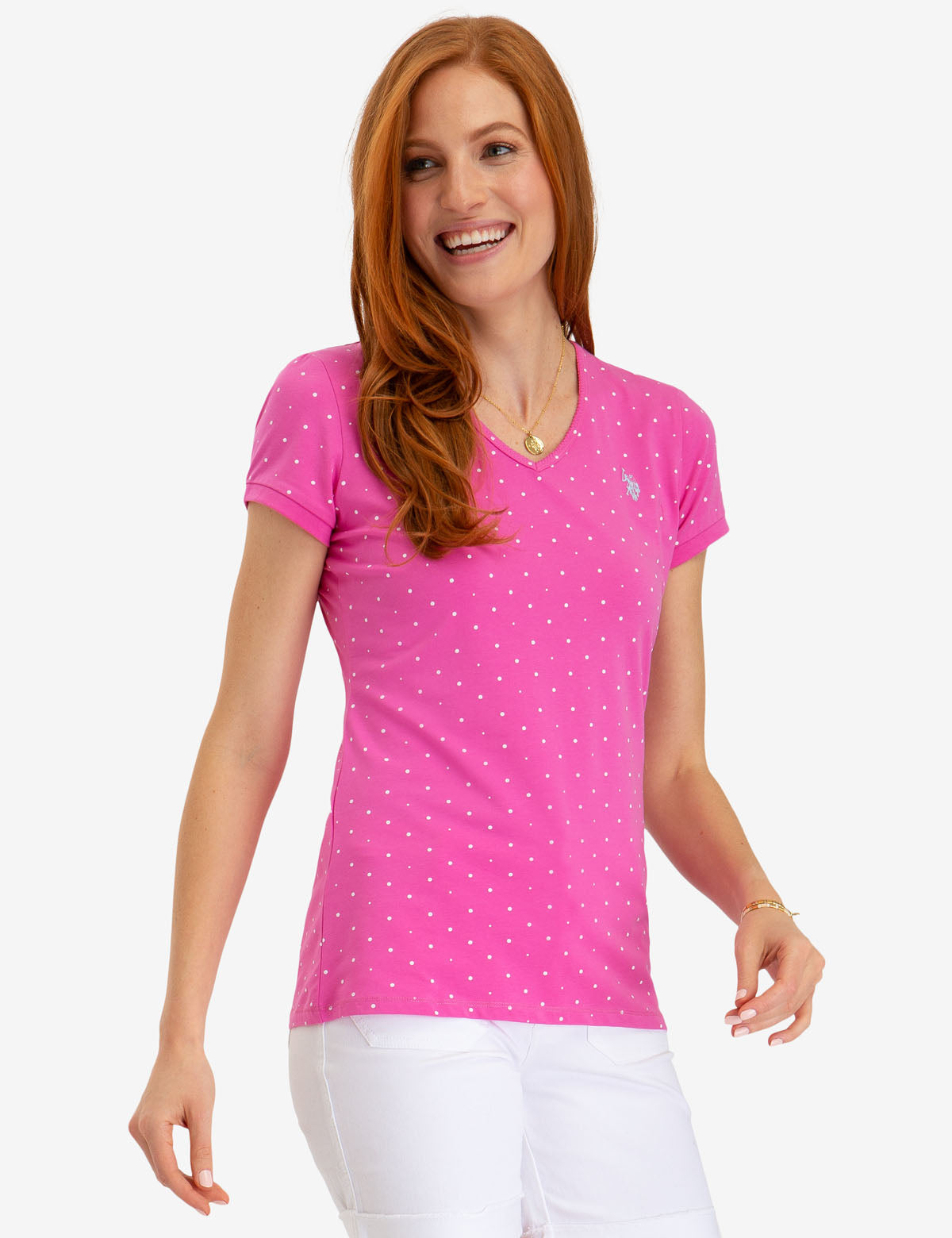 DOT V-NECK T-SHIRT - U.S. Polo Assn.