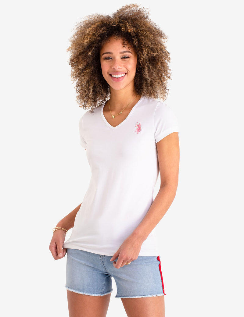 SCALLOP V-NECK T-SHIRT