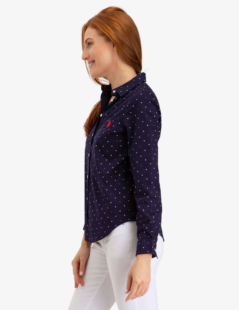 DOT POPLIN LONG SLEEVE SHIRT