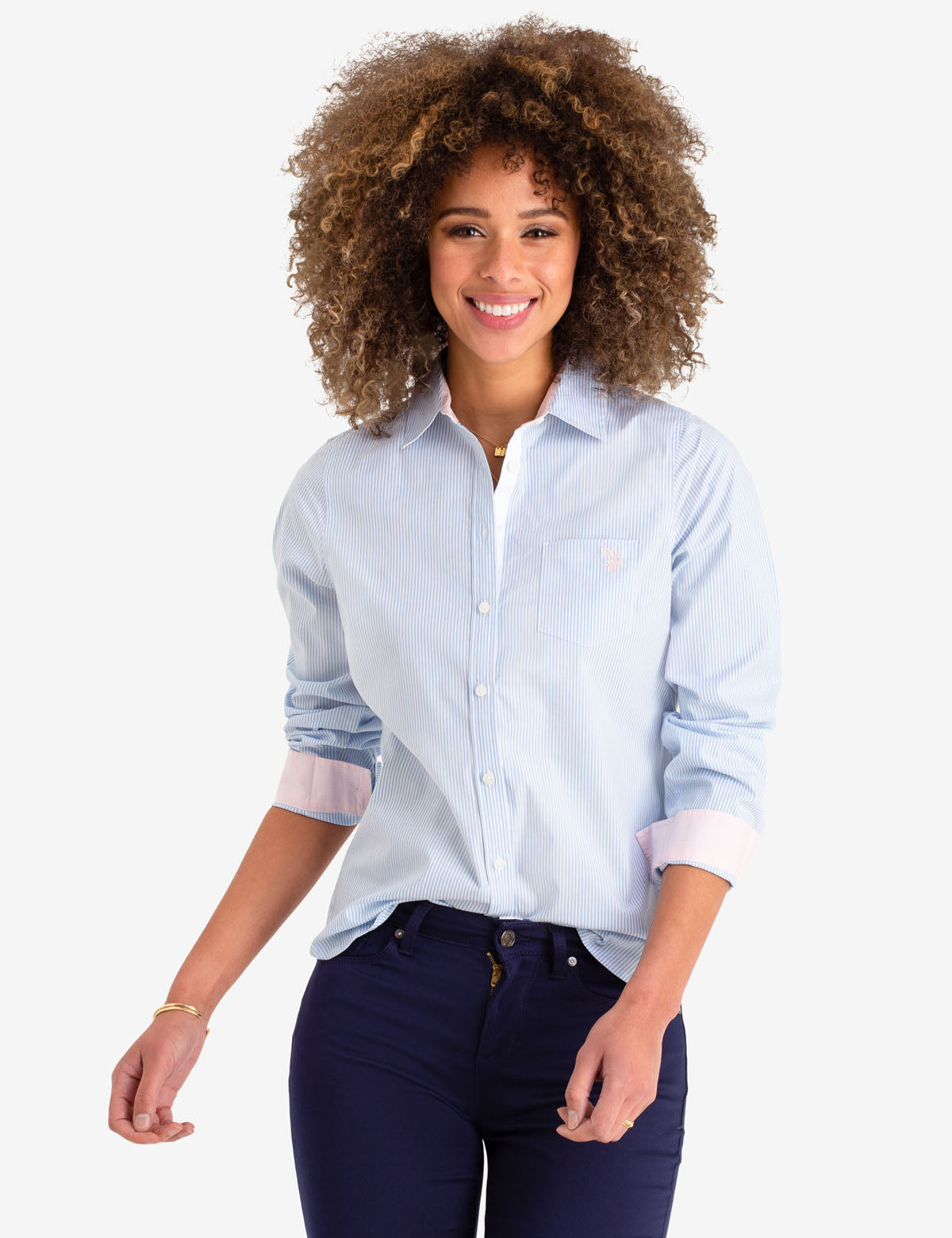 STRIPED POPLIN LONG SLEEVE SHIRT