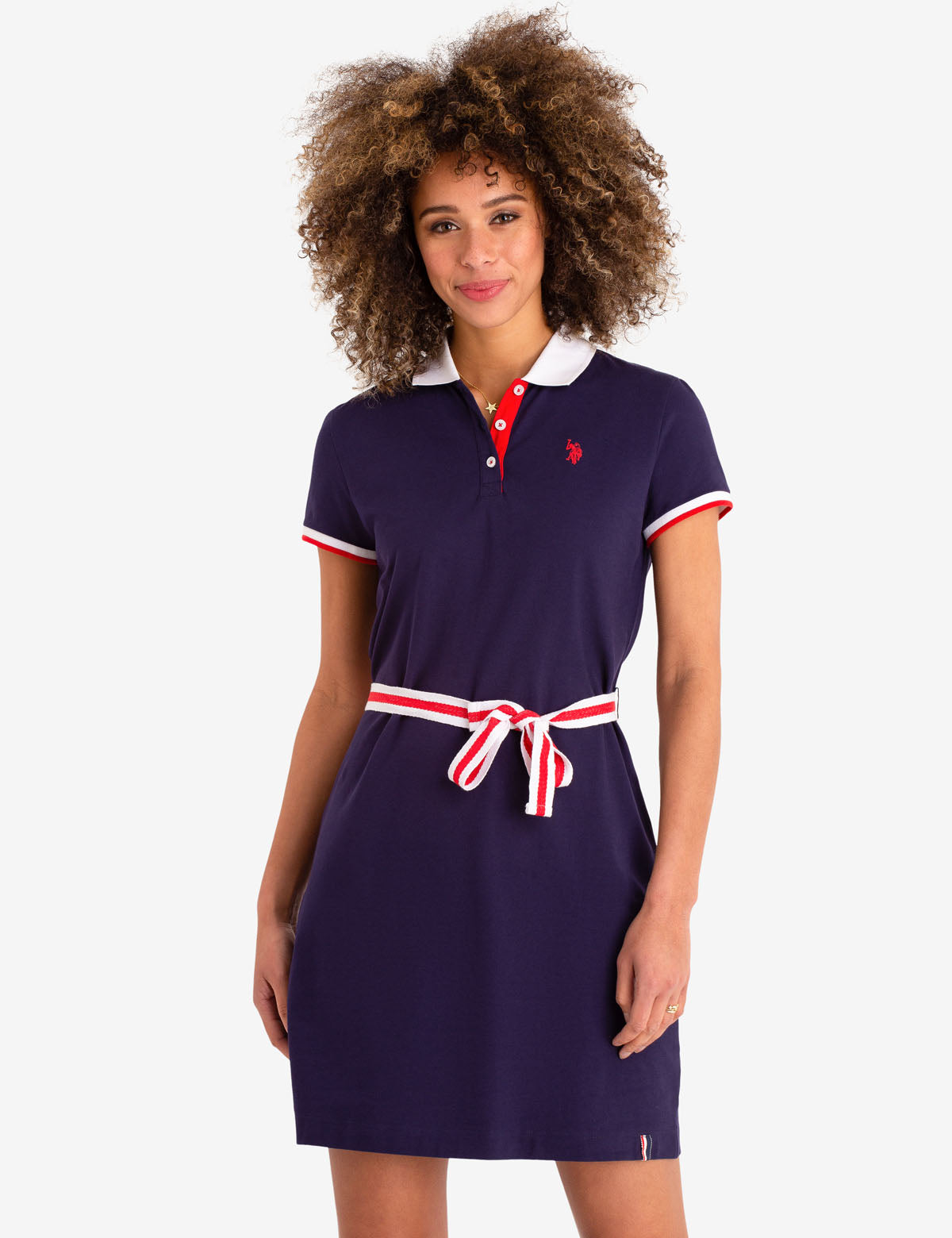 TIE FRONT POLO DRESS