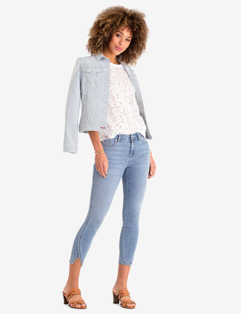 REPREVE® MID RISE CROP JEGGING WITH PIPING