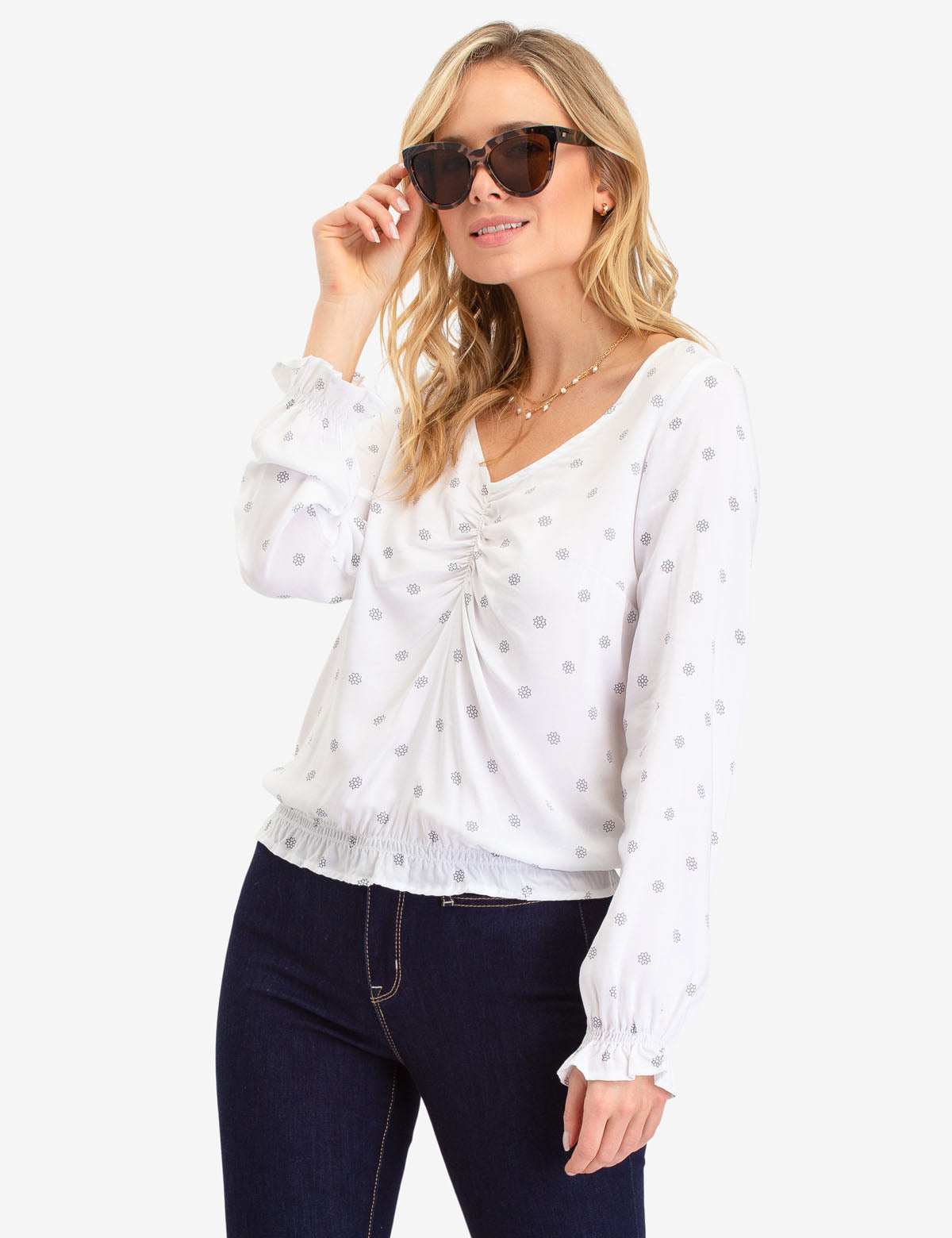 STAR PRINT RUFFLE SLEEVE TOP