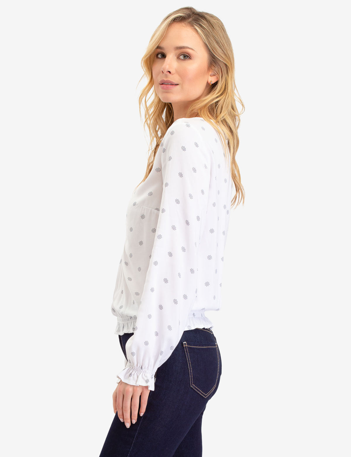 STAR PRINT RUFFLE SLEEVE TOP - U.S. Polo Assn.