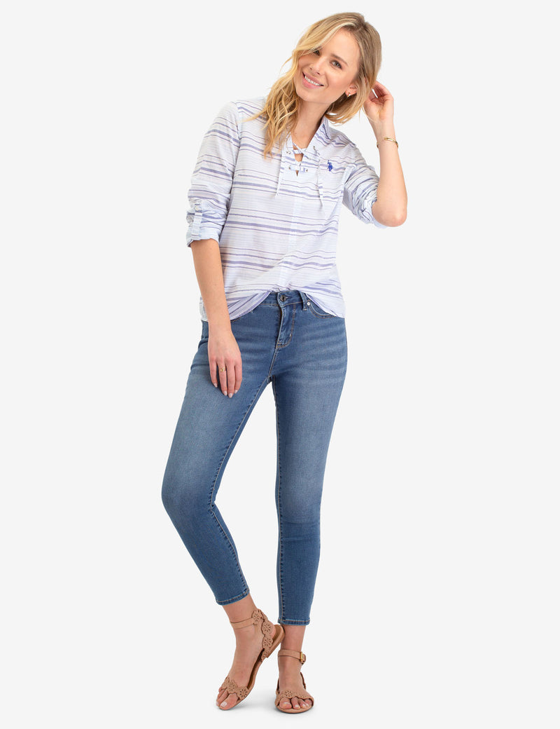 BLUE STRIPED LACE BACK LONG SLEEVE SHIRT