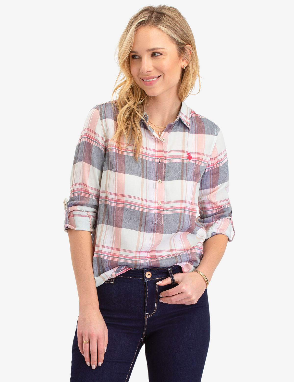 LONG SLEEVE PLAID POPOVER SHIRT