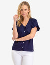 RUFFLE SLEEVE TIE FRONT TOP - U.S. Polo Assn.