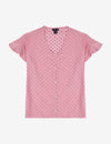 RUFFLE SLEEVE DOT PRINT TOP - U.S. Polo Assn.