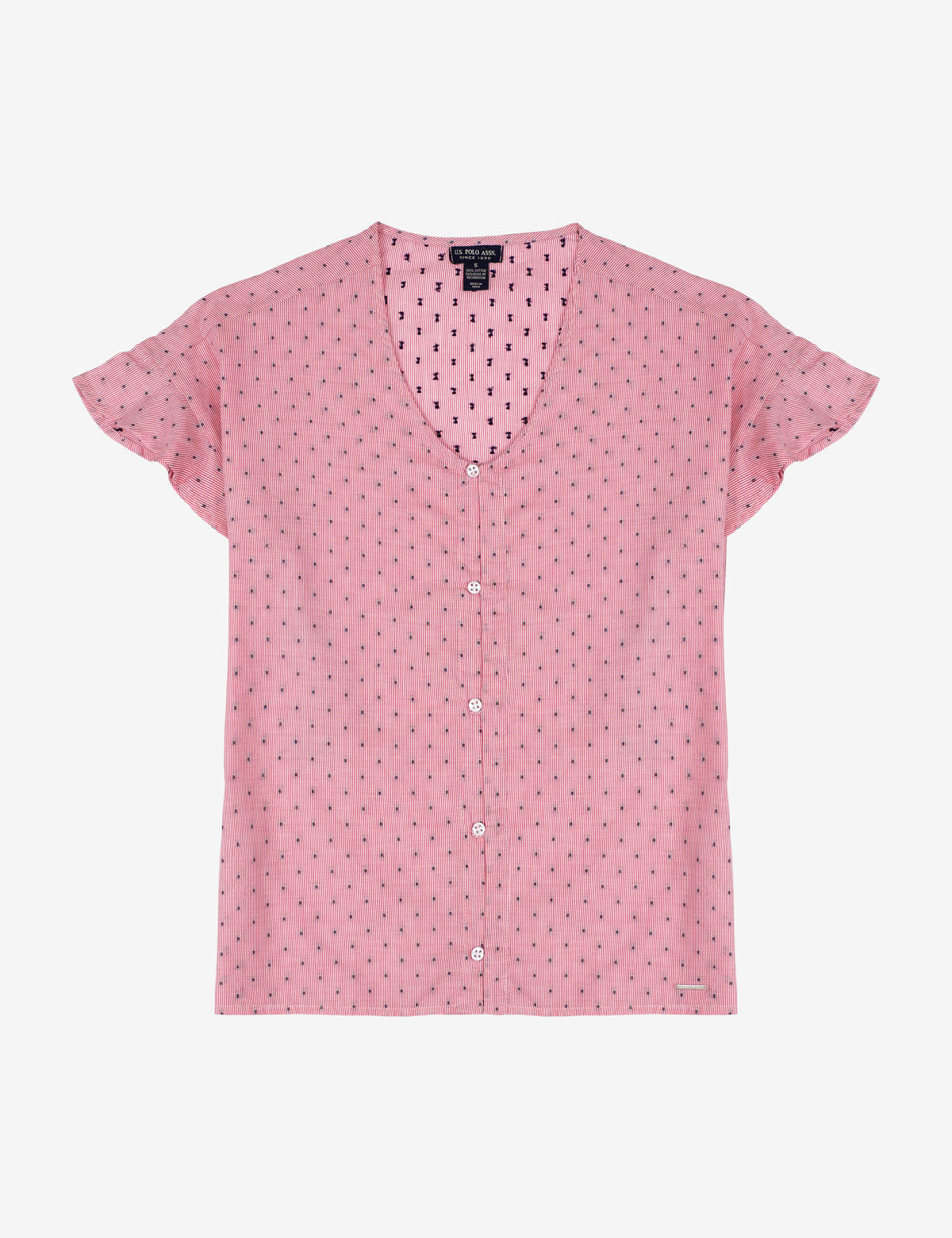 RUFFLE SLEEVE DOT PRINT TOP