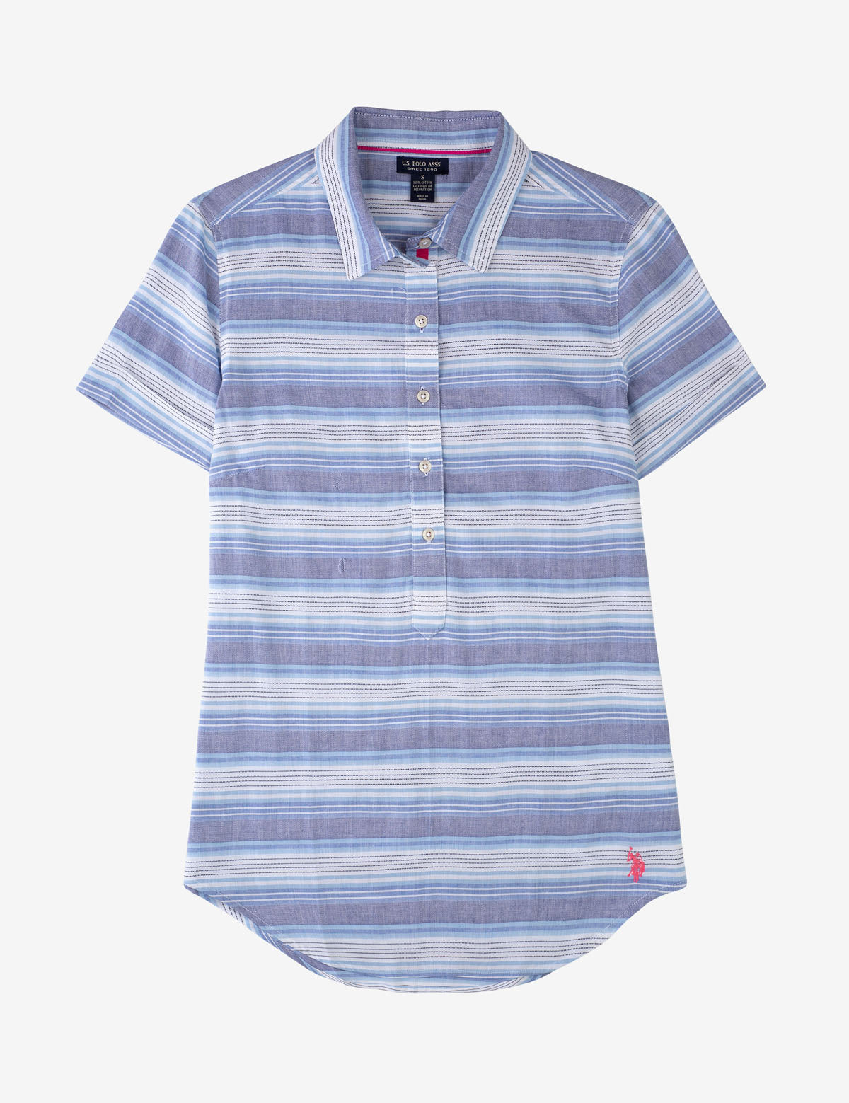 STRIPE BUTTON FRONT POPOVER SHORT SLEEVE SHIRT